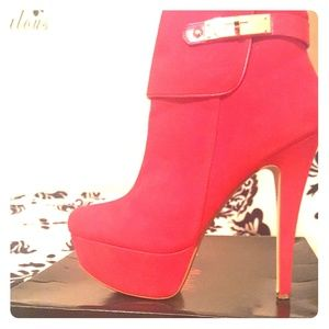Shoes - Red Booties with gold accent plate